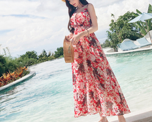 2018 the new Women's long dress Maxi Causal Bohemian Dress Floral Print Off Shoulder Long Dress for Summer Beach Party.
