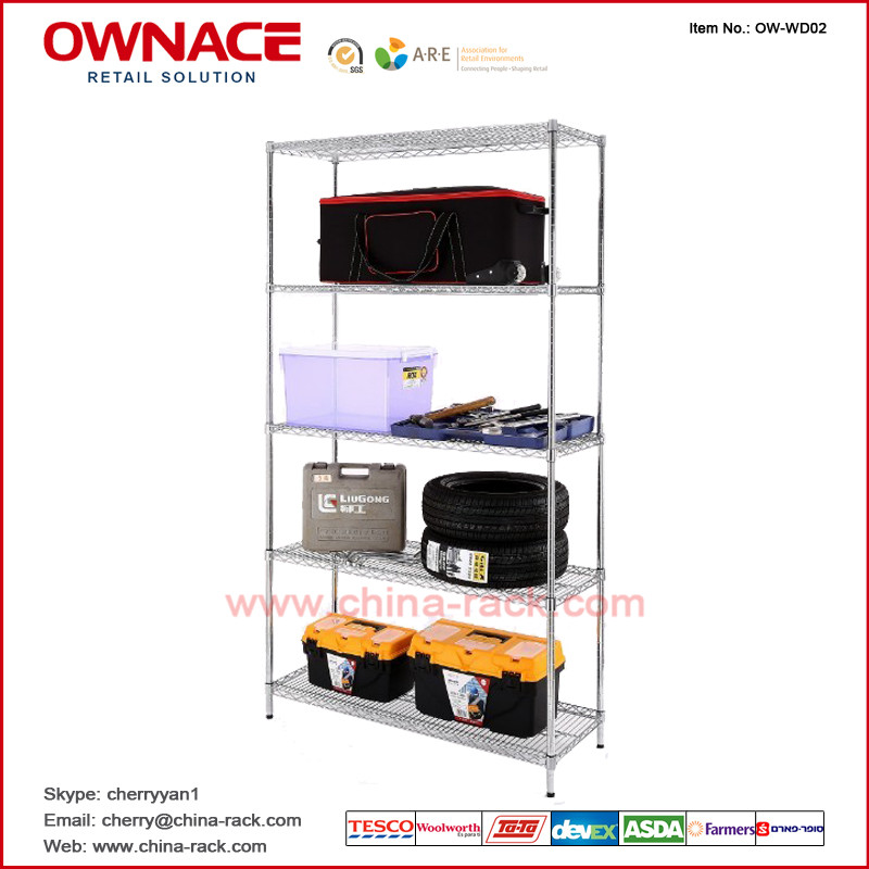 OW-WD02 Five 5 Layers Chrome Display Wire shelving