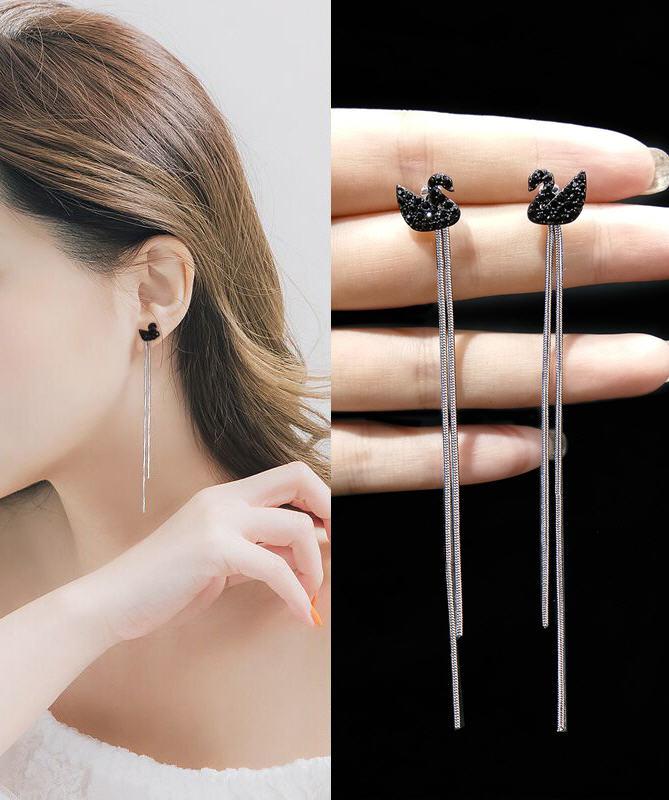 Black Swan Fringe Long Earrings Ear Line Studs Needle New Korea Hypoallergenic Wholers