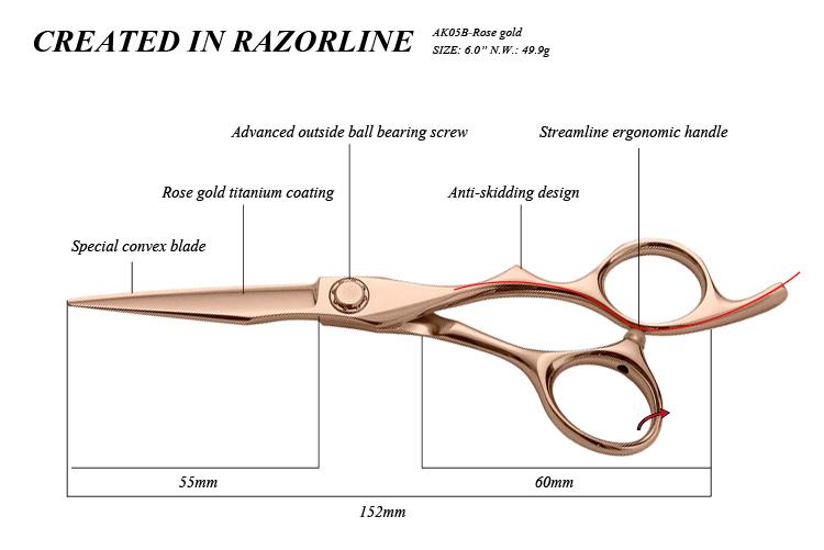 AK05B-Rose gold hair scissor SIZE-01