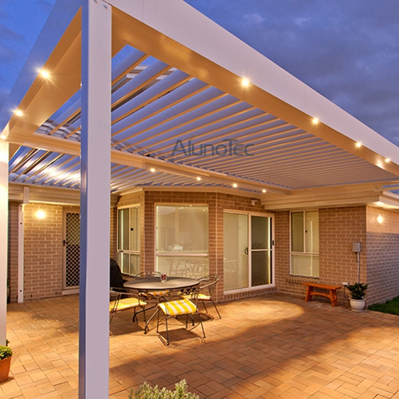 Motor Aluminum Patio Roof Pergola With Side Screen - Buy louvered ...