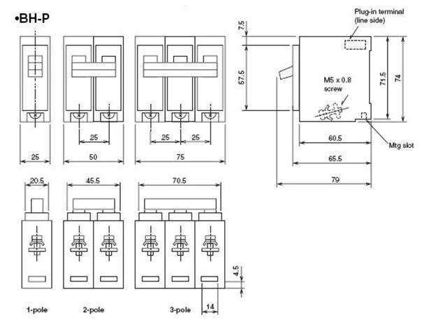 3 phase plug-in type circuit breaker