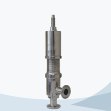 Sanitary food processing line type pressure relief valve