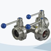 Sanitary 3 way butterfly valve