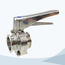 Sanitary clamped gripper butterfly valve with ss handle