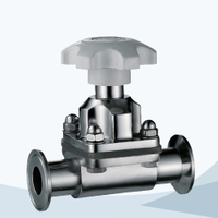 stainless steel food processing manual type clamped diaphragm valve