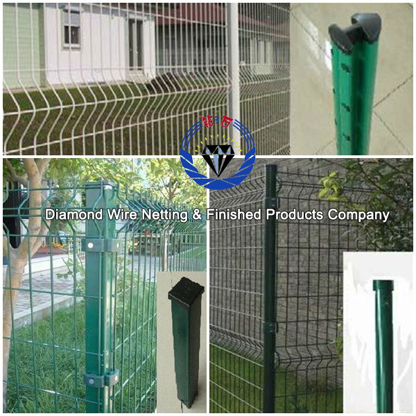 powder Coated welded wire mesh fence with post