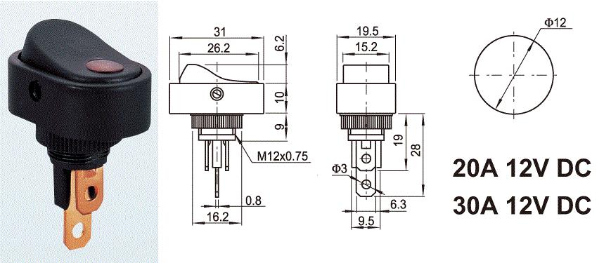 ASW-20D-2 20A 12VDC SPST 3P Lamp Automotive Rocker Switch