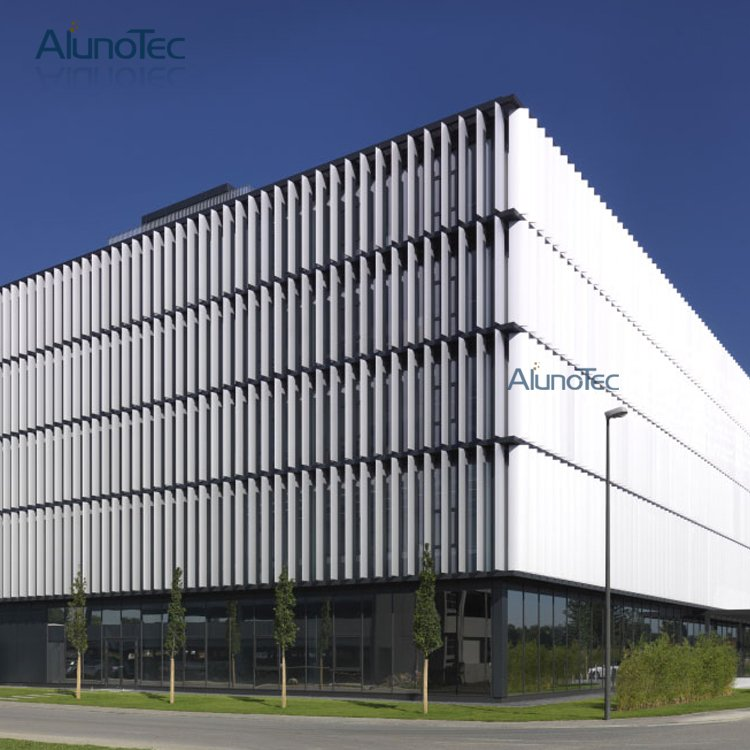 Glass Louver Facade : Decorative sunshade vertical aluminium sun louver for