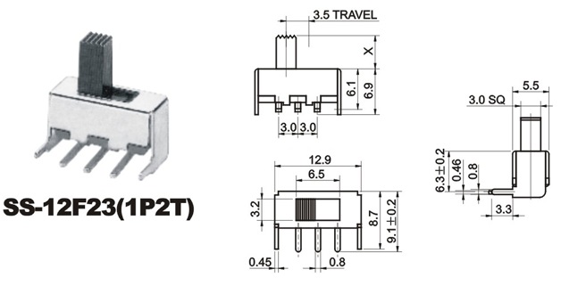 SS-12F23 PCB terminals toggle switch