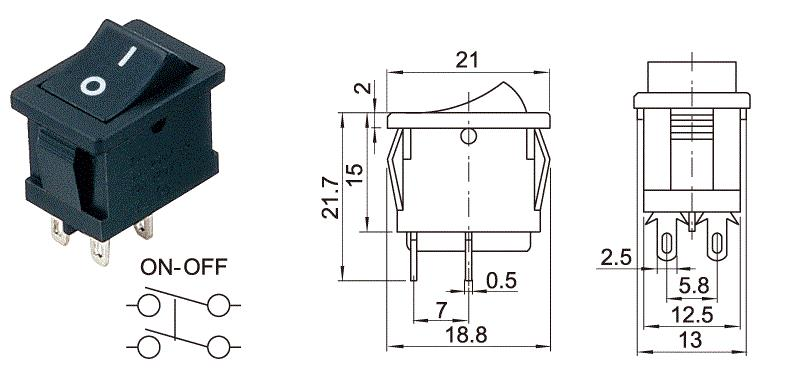 China Actuator Rocker Switch with 4 terminal,on off rocker switch 6A ...