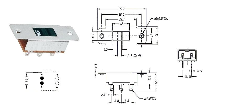 SK-10-F 127V slide switch