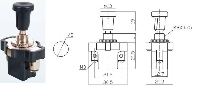 ASW-05 10A 12VDC Push Pull Switch