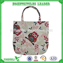 Wholesale Sale Owl Pattern Cotton/Polyester Jacquard Shopping Bag