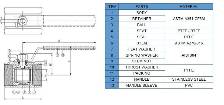 1pc body bar stock ball valve
