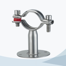 Sanitary round pipe clamp with base plate