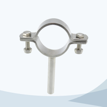 Sanitary round pipe clamp with rod