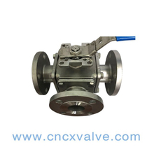 3way Flanged Ball Valve con Iso5211 Direct Mounting Pad