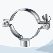 Sanitary round pipe clamp with female nipple