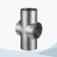 Sanitary hygienic pipe fitting welded short cross
