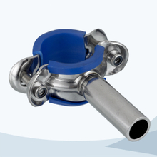 Sanitary pipe support with blue sleeve