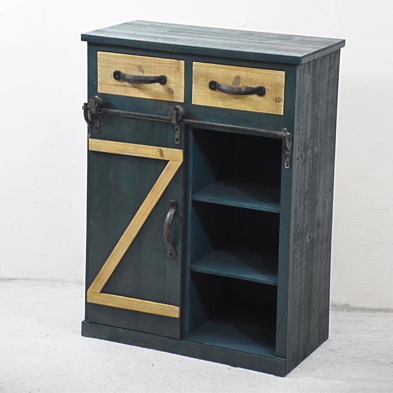 Sliding Barn Door Console Cabinet: Antique Sliding Barn Door Storage 2 Drawer Accent Cabinet