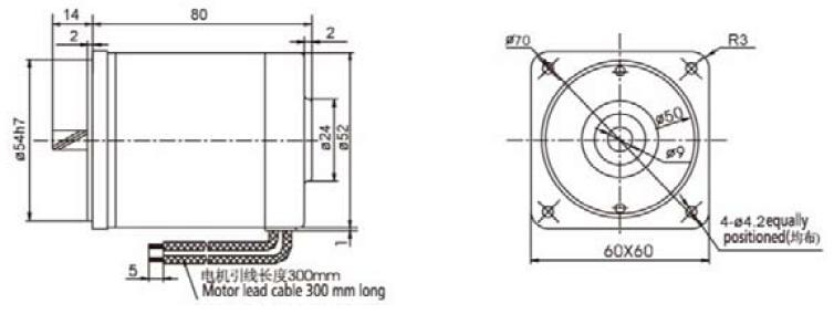 60mm dc parallel gear motor