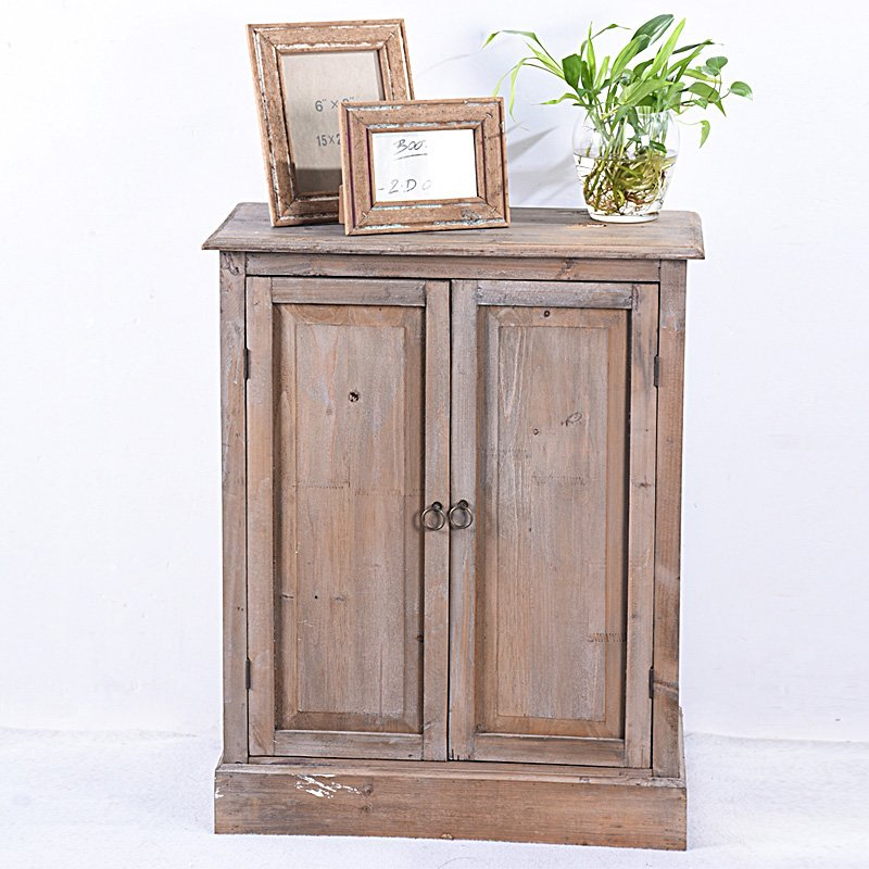 Vintage Rustic Living Room Accent French Country Wood Corner Cabinet
