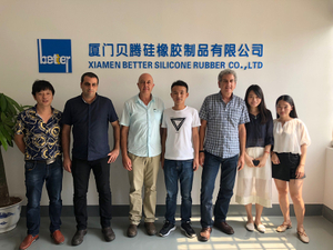 Israel Customer Visit our factory for rubber sealing gasket and silicone keyboard