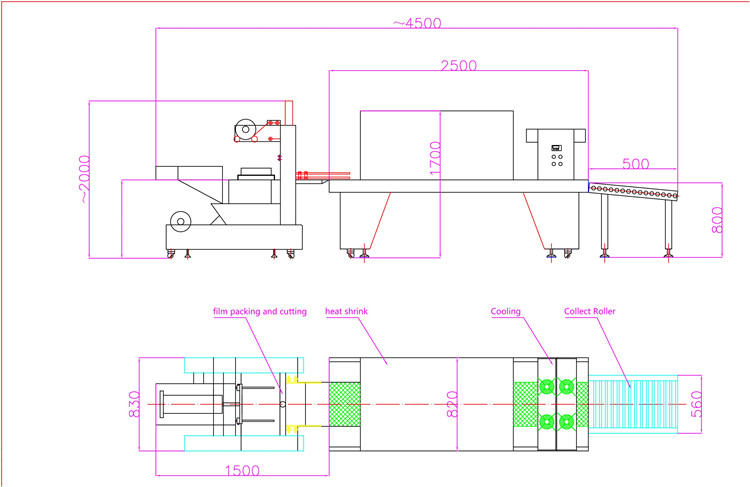 layout drawing of semi automatic pe film shrink wrapping machine