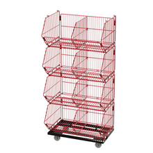 4 Basket Stackable Movable Wire Dump Bins