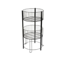 Two Tiers Wire Dump Bin 2 Tier Basket Stand