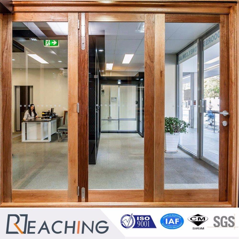 Wood Color Electrophoresis Aluminium Sliding Door With Laminated