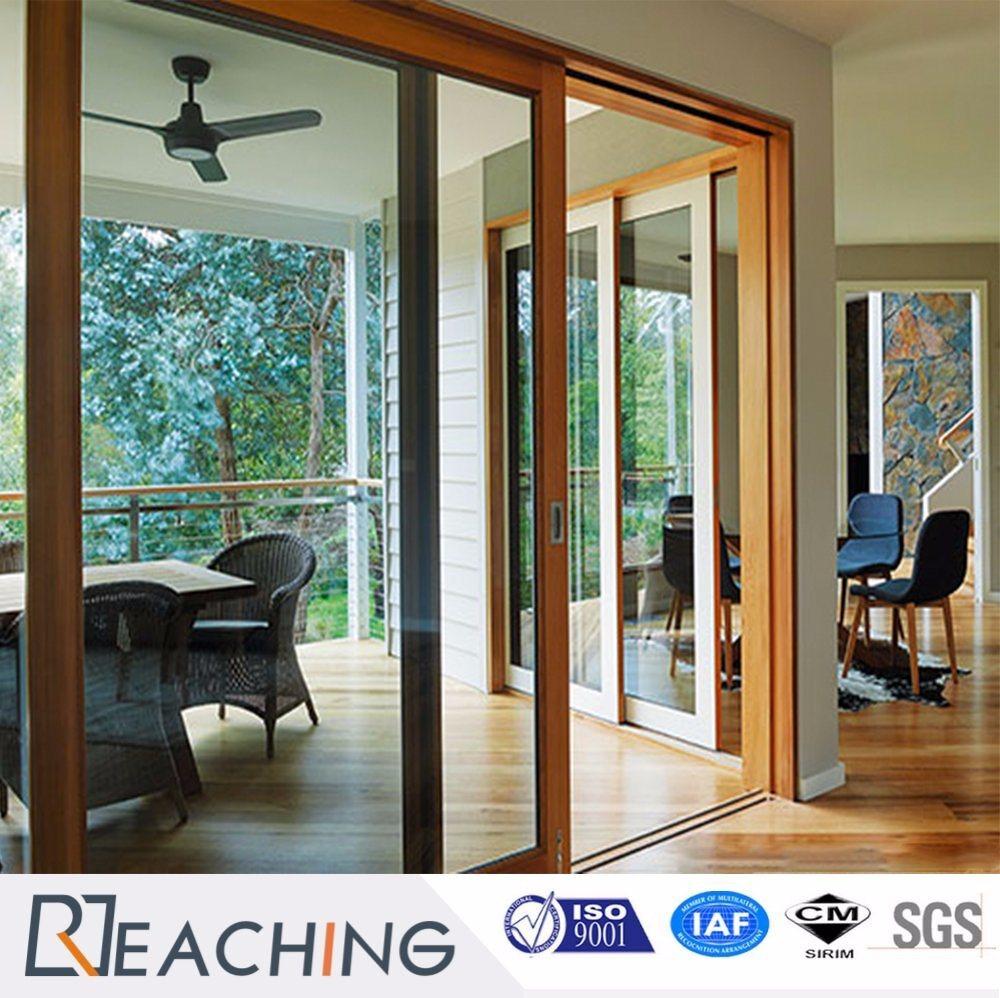 Wooden Color Aluminium Sliding Door Ma Lock Modern Design From China