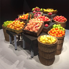 Vegetable and fruit display rackwicker basket
